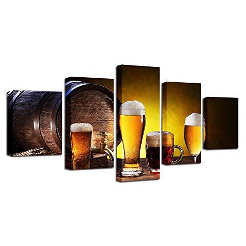 Yftnipl 5 Piezas De Pared Fotos Cuadros En Lienzo Copa Vino Cerveza Dorada Lonas De Hd Imprimir Modern Artwork Decoración De Arte De Pared Living Room