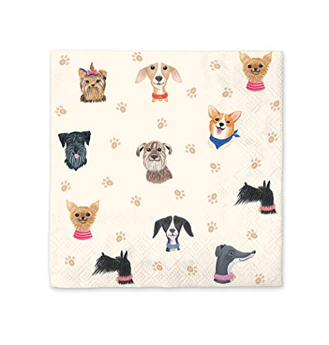Paper Beverage Napkins by Studio Oh! - Doggone Cute - Pack of 40 - Full-Color Art - 3-Ply Strong & Durable, Easy Cleanup - for Everyday & All Occasions