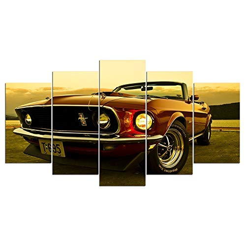 john psarris Dionysios Print Framed Canvas Ford Mustang Car 5 Pieces Wall Art Decor Ready to Hang on The Wall with Frame - Size 1