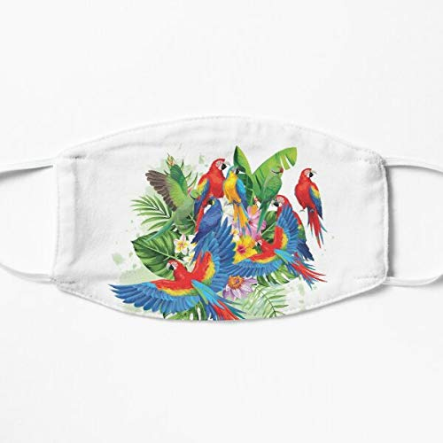 Parrot Macaw Tropical Bird Art Xmas Gift, Fabric Mask