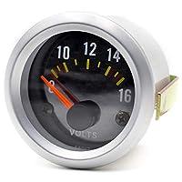 SNOWINSPRING 52mm ユニバーサル 2インチの機械式車用電圧計 電圧計 ゲージ LED 8-16V