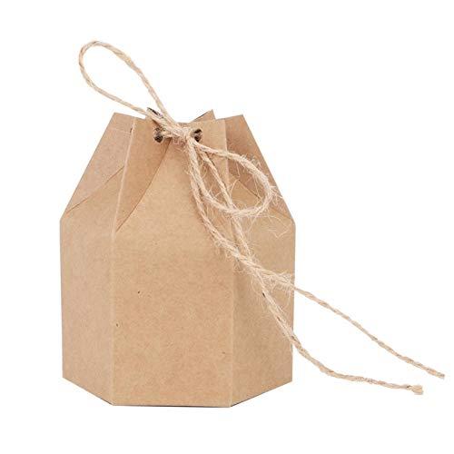 Ladieshow 50Pcs DIY Bolsa de Regalo de Caja de Dulces de Papel Kraft con Cuerda de cáñamo para Fiesta de Boda Baby Shower