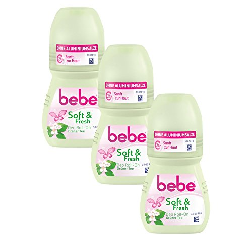 bebe Desodorante en roll-on de Soft & fresh, sin aluminio, con aroma fresco de té verde, 24 horas de protección fiable contra olores corporales, 3 x 50 ml