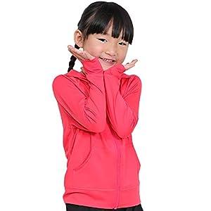 HEAZEL ヘーゼル 全35色柄 キッズ ラッシュガード パーカー UVカット ラッシュパーカー フード ジップアップ 80-150サイズ 長袖 UPF50 + ピンク 100サイズ