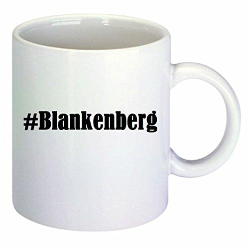 Koffiemok #Blankenberg Hashtag ruit keramiek hoogte 9,5 cm ? 8 cm in wit