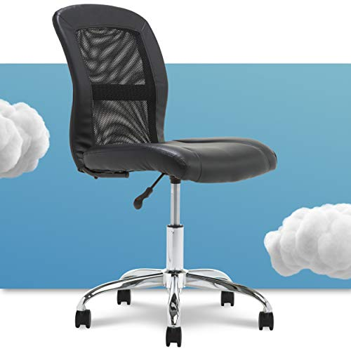 Serta 48740 Essential Mesh Low-Back Computer Desk Task Chair with No Arms for Home Office or Conference Room, Faux Leather, Black