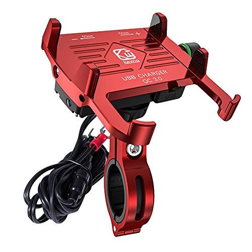 Beesuya Fahrrad Handyhalterung - Aluminium Motorrad Fahrrad Lenker Handy Halterung Mit USB Ladegerät 2.5A / QC3.0 3A Schnellladung Mit Schalter Für iPhone/Samsung Latest