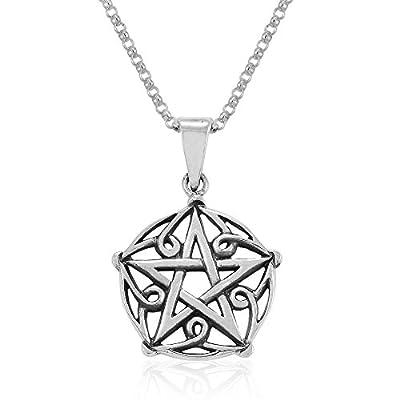 Sterling Silver Wiccan Pentagram Pendant Necklace