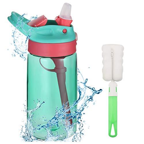 Flintronic Sippy Cup 480ml Bottiglia per Bambini, Borraccia con Cannuccia, A Prova di Perdite, Infrangibile, Senza BPA, per Acqua, Latte, Succo di Frutta (Spazzola Inclusa)