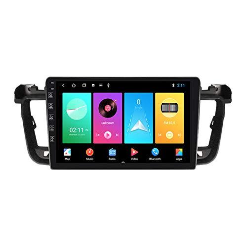 ADMLZQQ Navegación GPS con Radio De Coche Android 9 para Peugeot 508 2010-2016, Cámara De Visión Trasera USB Bluetooth WiFi Cámara De Respaldo Control del Volante,M100 1+16g