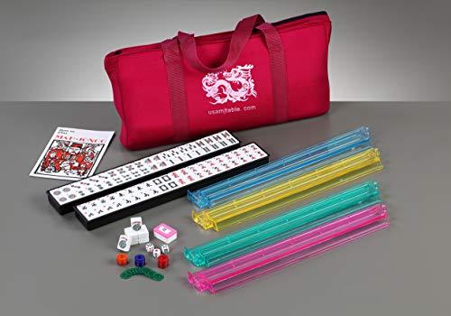 Brand New American Mahjong Set in Burgundy Bag, 4 Pushers Racks Western Mahjongg