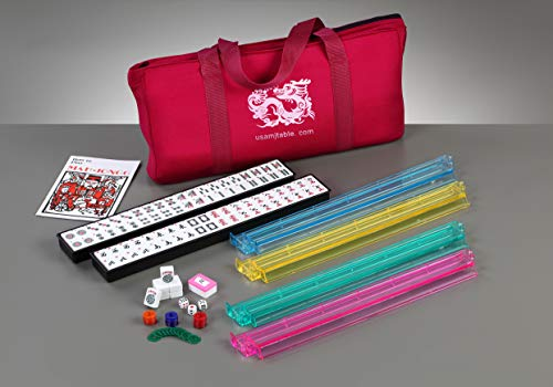 Brand New American Mahjong Set in Burgundy Bag, 4 Pushers Racks Western Mahjongg