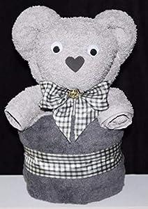 """Handtuchfigur""""Teddybär silbergrau auf anthrazit"""" fertig in Geschenkverpackung"""