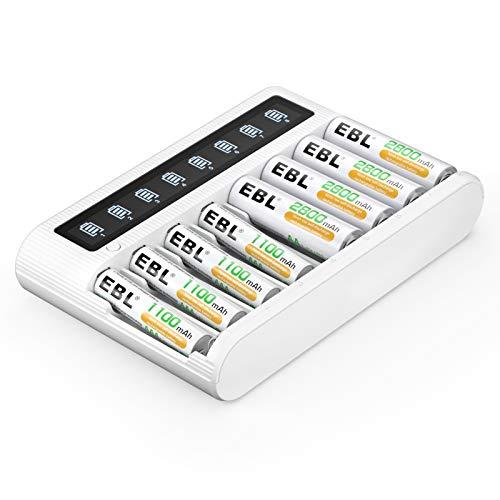 EBL 単3/単4充電池充電器セット 8スロット充電器+単三電池(2800mAh*4)+単四電池(1100mAh*4)セット 単三単四ニッケル水素/ニカド充電池に対応 単3充電池 単4充電池 充電池・充電器パック
