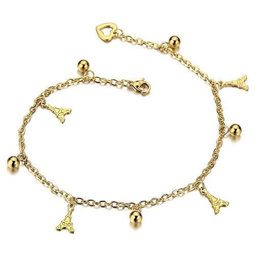 COOLSTEELANDBEYOND Acciaio Inossidabile Colore Oro Cavigliera da Donna con Torre Eiffel Charms