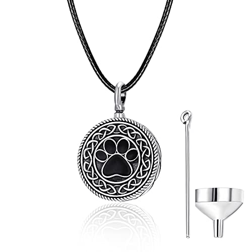 Urn Necklace for Ashes Dog Ashes Pet Cremation Jewelry Sterling Silver Paw Print Pendant Necklace Celtic Knot Necklace Memorial Keepsakes Ashes Locket for Pet Cat