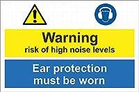 注意サイン-高騒音レベルの警告リスク。耳の保護具を着用する必要があります。通知用のインチ街路交通の危険屋外防水および防錆金属錫サイン