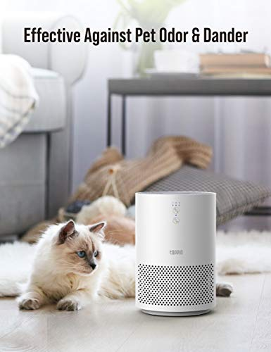 TOPPIN HEPA Air Purifiers for Home Bedroom UV Light Pet Hair Dander Pollen Smoke Dust Airborne Contaminants Odors Home Air Cleaner with Filter Night Light