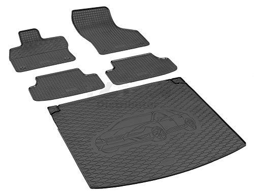 Passende Gummimatten und Kofferraumwanne Set geeignet für SEAT Leon ST ab 2014 + Gurtschoner