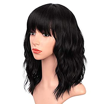 ENTRANCED STYLES Black Wigs with Bangs for Women 14 Inches Synthetic Curly Bob Wig for Girl Natural Looking Wavy Wigs