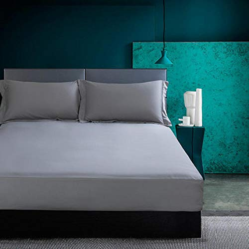 LCFCYY Sábanaencimera,Sábanas de algodón de poliéster Suave, Protector de colchón de Color sólido Antideslizante a Prueba de Polvo para Dormitorio Hotel Gray 152 * 203cm
