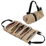Organizador de herramientas de lona resistente con 5 bolsillos con cremallera,...
