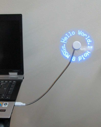 PowerTRC LED Programmable Message Fan with Customized Drawing - USB Powered (Blue Led)