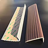 ZHXY Perfil de Borde de escaleras,PVC,Goma,Autoadhesivo,Perfil Angular,Anticongelante,Protector Solar,Antideslizante,silencioso,Borde de Escalera,Gris.