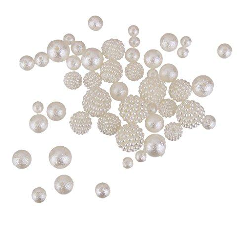 Magideal Lot de 50 assortis Taille Blanc Fausse Perle Perles Rugueuses pour bijoux Craft Décoration