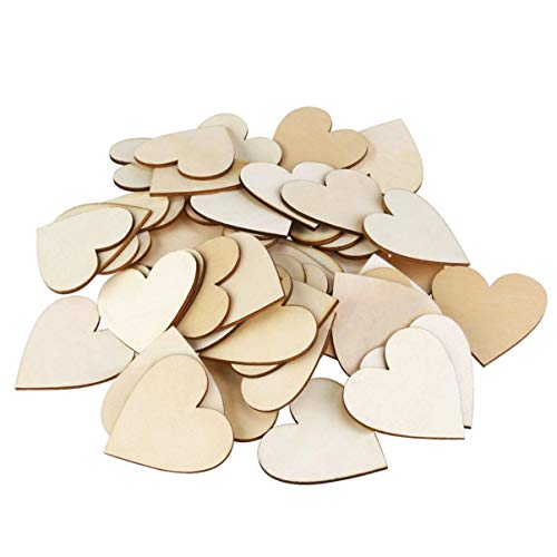 Vosarea 50 Pcs 1.5 Inch Unfinished Wood Slices Wood Heart Slices Blank Wood Heart Cutouts for Wedding Decoration, Arts and Crafts, Valentine Ornaments DIY Crafts