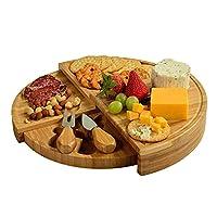 竹製チーズボード チーズプレート竹引き出しチーズブレッドプレートフルーツスナックプレートのまな板 (色 : Wood Color, Size : One size)