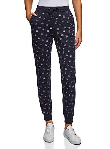 oodji Ultra Mujer Pantalones de Punto con Cordones, Azul, ES 34 / XXS