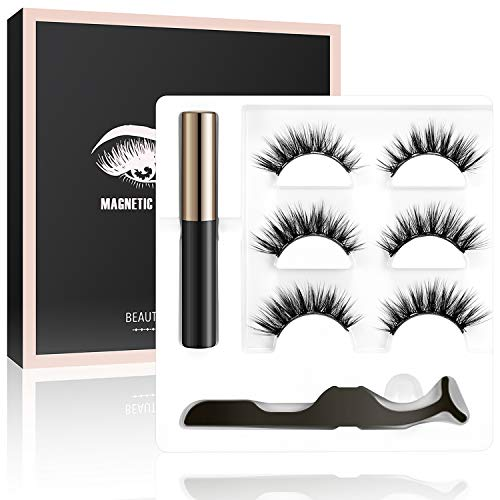 LEBEXY Magnetic Eyeliner | Magnetische Wimpern | 3 Paar Künstliche Wimpern | Falsche Magnetic Eyelashes Wasserdicht | Wiederverwendbare Falsche Wimpern Kit mit Magnetischer Eyeliner und Pinzette