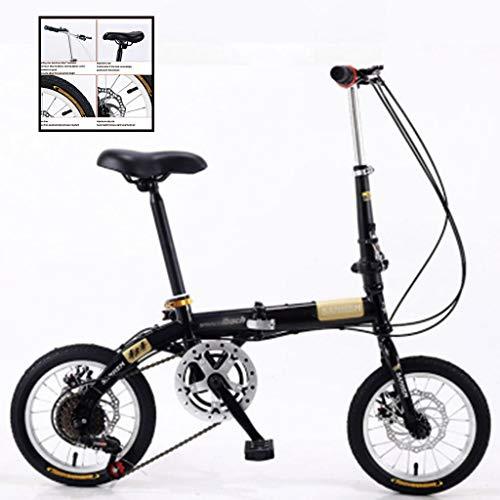 Klappräder 14-Zoll-Kinder Jungen Und Mädchen Leichte Pendler Mini Kleine Mobilität Fahrrad Mountainbike 14-Zoll-Male Mountain Bike (Color : Black, Size : 14 inches)