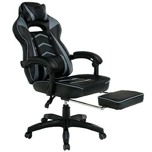 Gaming Racing Style Chair with Foot Stool/Foot Rest Office Desk Home Comfortable Esports Swivel with 2 Year Warranty (Black/Grey)