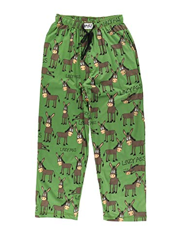 LazyOne Animal Pajama Pants for Men, Men's Separate Bottoms, Lounge Pants, Funny, Humorous, Donkey (Lazy Ass, X-Large)
