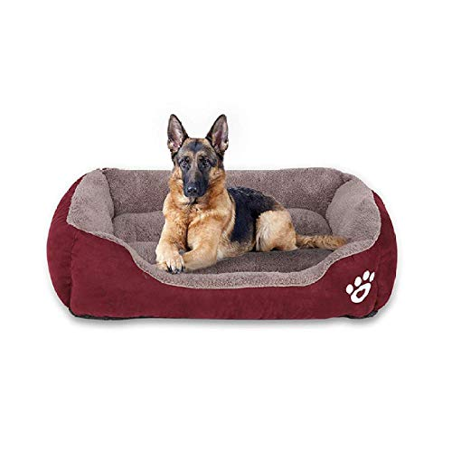 BACKZY MXJP Hundehütte Paw Printing Dog Couch Plüsch Warm Pet Cat Kennel Wein Red Dog Basket Bett Sofas Mat Günstige Pet Product S.