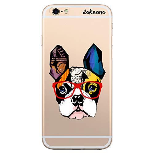dakanna Funda para [ iPhone 6 Plus - 6S Plus ] de Silicona Flexible, Dibujo Diseño [ Bulldog Frances con Gafas Estilo Comic ], Color [Fondo Transparente] Carcasa Case Cover de Gel TPU, Smartph