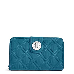 Vera Bradley Women's Microfiber Turnlock Wallet with RFID Protection