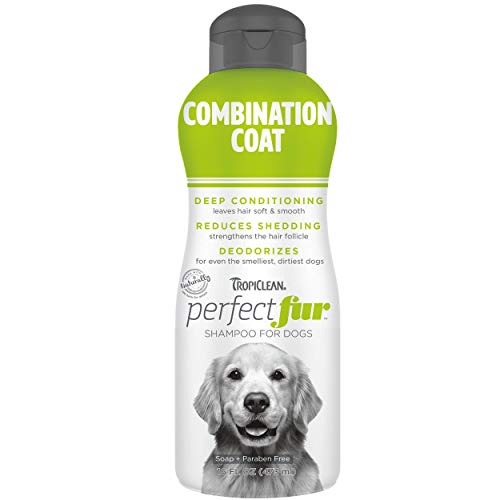 TropiClean Perfect Fur Combination Coat Shampoo for Dogs, 16oz - Use with Undercoat Rakes for Easy Brush Out - Unique Formula for Shedding Control and Smelly Coats - Made in USA - Naturally Derived