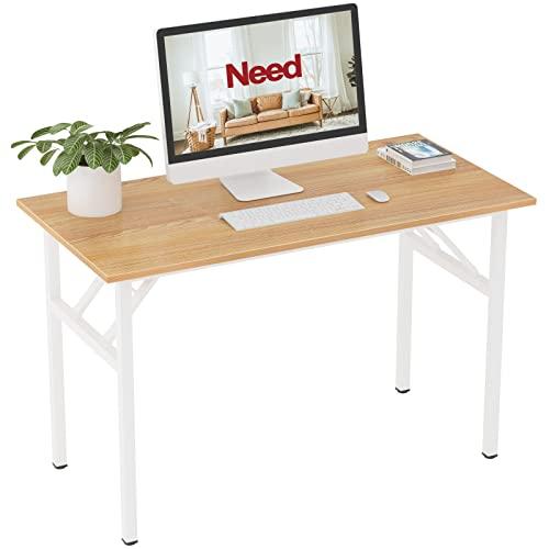 Need Computer Desks 120x60cm Folding Desk Heavy Duty Portable Folding Table for Company/Office/Picnic/Garden/Beach/Camping Use Teak Oak & White leg, AC5BW