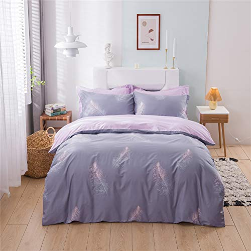 USTIDE 100% Cotton Duvet Cover Girls Teenagers Quilt Cover Comforter Cover Reversible Easy Care Bedding Set Single Size