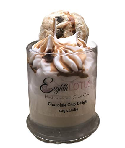 Chocolate Chip Cookie 100% Natural Soy Wax Dessert Candle, Delicious Smelling, Triple Scented 10 oz, Chocolate Cookie wax melt included, TOP SELLER