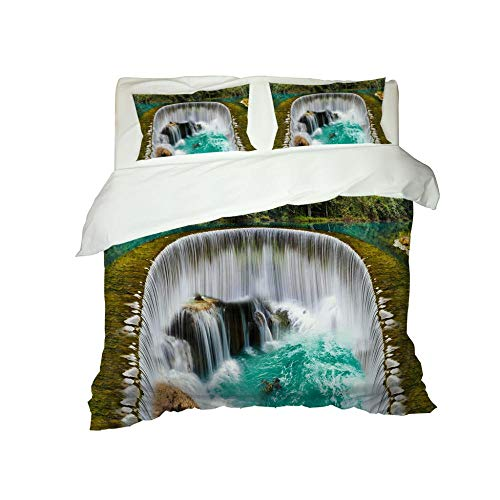 PERFECTPOT Duvet Cover Set Double Size Waterfall Pattern 3 pcs with Zipper Closure Microfiber Bedsure Printed Duvet Cover Quilt Bedding Set with 2 Pillowcases, 200 x 200 cm