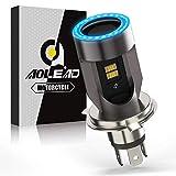 Ampoule H4 LED avec Yeux D'ange, HS1 Phare per Moto 6400LM, DC 12V Pack de 1