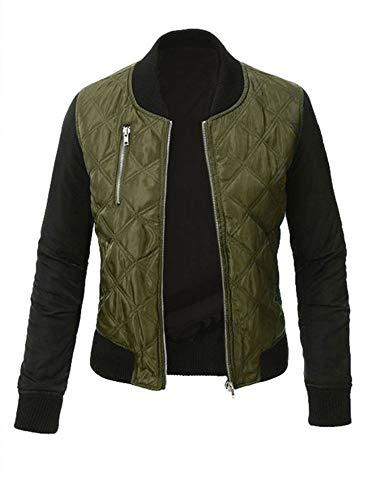 XIAOSHI Plus Size S-3XL Women Autumn Winter Zipper Up Flight Bomber Jackets Ladies Casual Coat Outerwear Fashion Patchwork Jacket (Green, M)