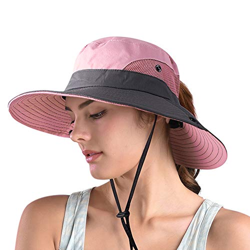 Ponytail Sun Hats for Women,Wide Brim Summer Safari Beach Hat,Outdoor UV Protection Bucket Fishing Hat (A-Pink)