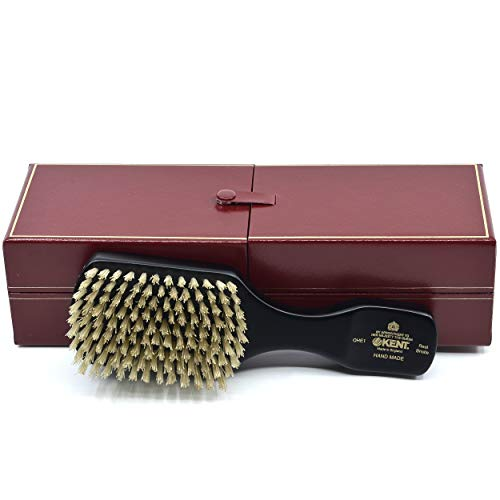Kent OHE1 Mens Ebony Wood Wire-Laid White Boar Bristle Club Hair Brush. Exfoliating Natural Boar Bristle Brush for Mens Grooming, Hair Care and Beard Straightener. Handmade in England