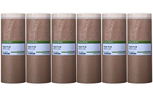 6 x Colorus Abdeckpapier mit Klebeband PLUS 30 cm x 25 m Masker Tape | Malerabdeckpapier mit Malerkrepp, 7 Tage UV beständig | Selbsthaftendes Abklebeband Papier | Papier-Maskerband