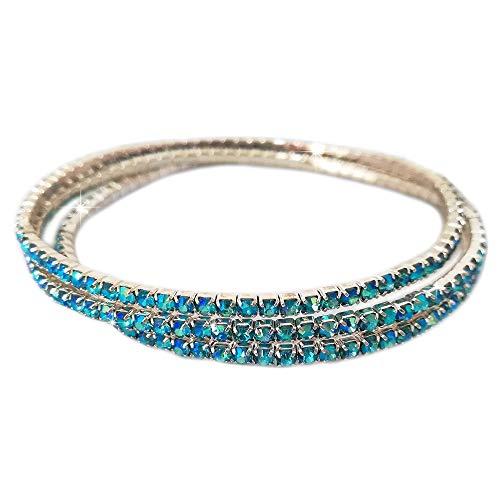 Beloved ❤️ Set di 3 bracciali tennis con cristalli - bracciale donna - braccialetto - varie composizioni set - lunghezza adattabile a tutti i polsi (3 BRACCIALI AZZURRO)